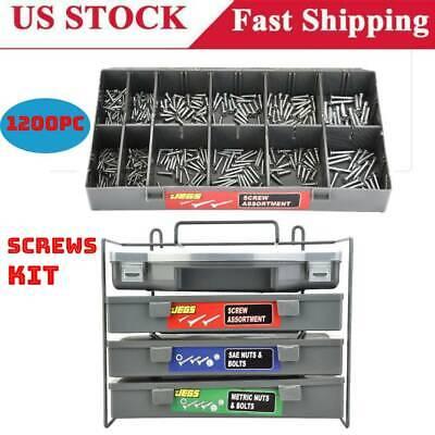 1200pcs Assorted Set Bolt Hex Nut Wood Sheet Machine Screws Washer Kit US ST