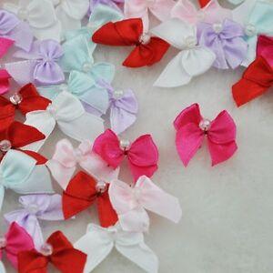 60pcs-Mini-Satin-Ribbon-Flowers-W-Beads-Bows-Gift-Craft-Wedding-Decoration-A0188