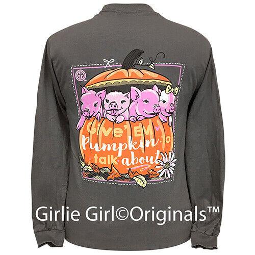 Girlie Girl Originals Tees Piggy Pumpkin Charcoal Long Sleeve T-Shirt - 2268