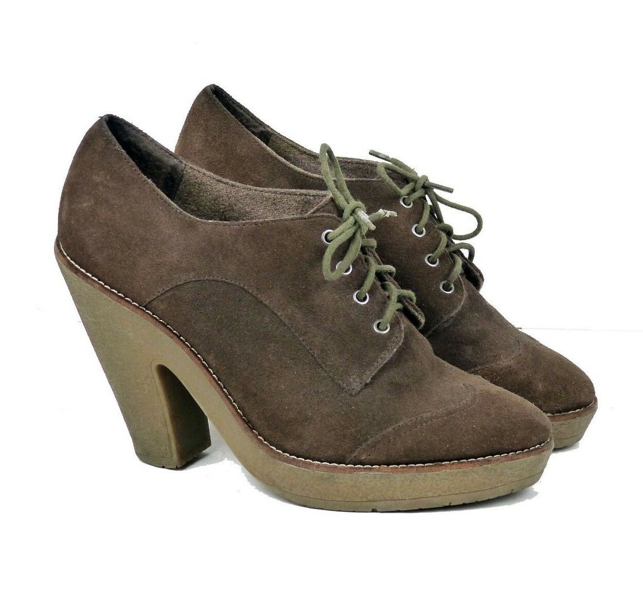 Sam Edelman Willie Brown Suede Oxford Lace Up Ankle Boots Women 9.5 FLAW
