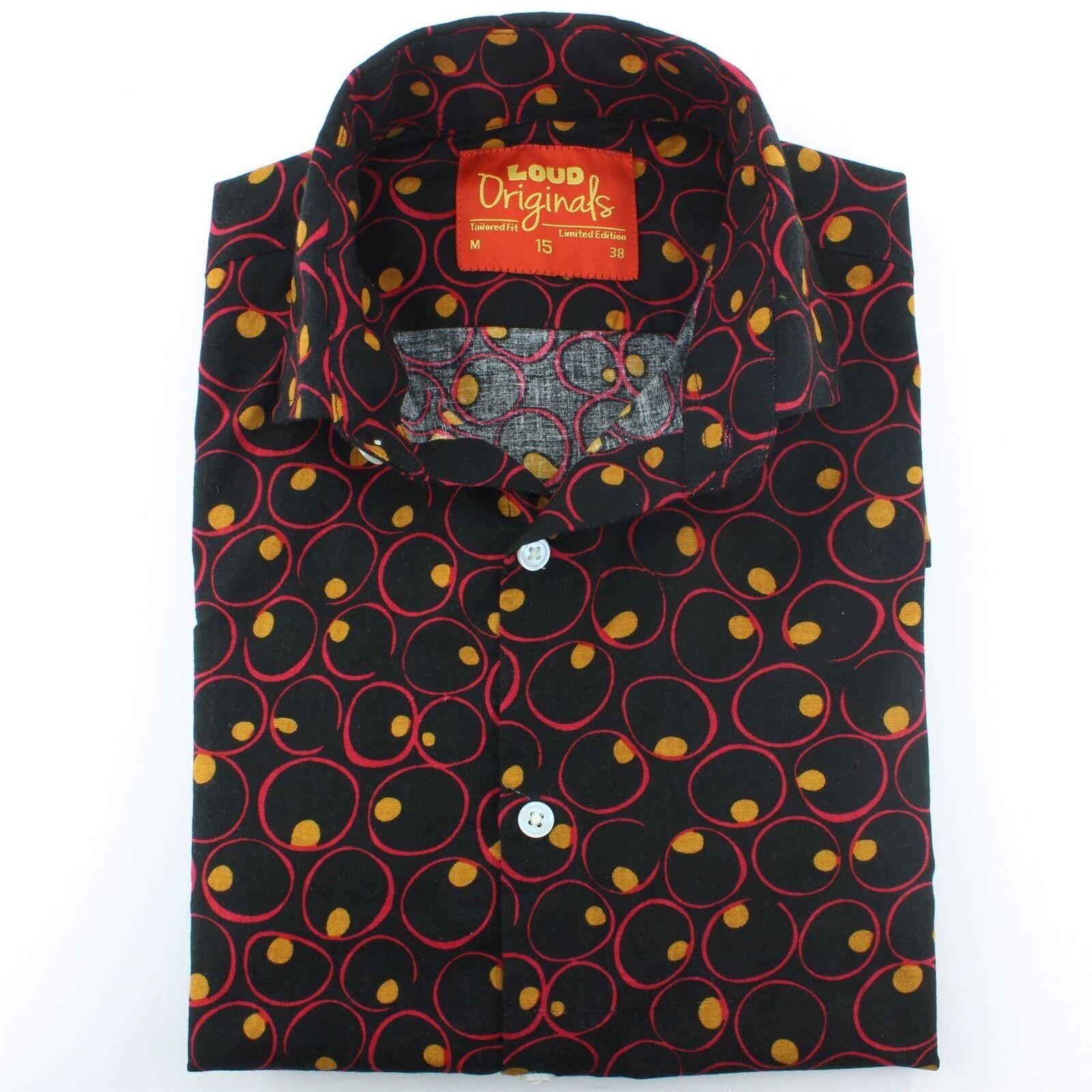Camicia da uomo forte Originals SU MISURA Fit CELLE CELLE CELLE Nero Retro Psichedelico Costume c13348