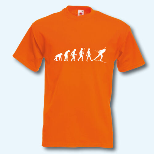 Ski Wintersport Fun-Shirt Evolution Biathlon T-Shirt Skifahrer
