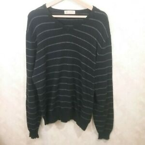 j-crew-men-034-s-black-stipe-cotton-and-cashmere-sweater-size-L