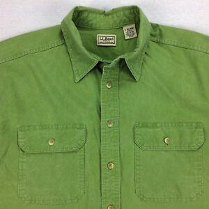 Vintage-LL-Bean-Field-Chamois-Camp-Shirt-Mens-LT-Tall-Large-Green-Short-Sleeve