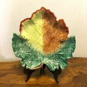 Vintage Fitz and Floyd Set Of 4, Ironstone Leaf Shape Dish Plates, A16