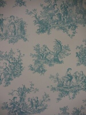 Classic Lovers - Provencale  - Teal - Toile De Jouy Wallpaper - Shabby Chic 6115
