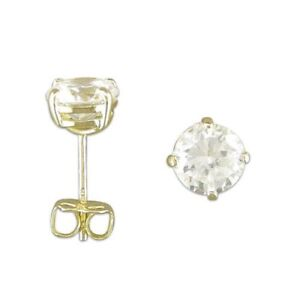 9ct Yellow Gold Cubic Zirconia 5mm Round Stud Earrings - Gift Boxed KvSLOqPu