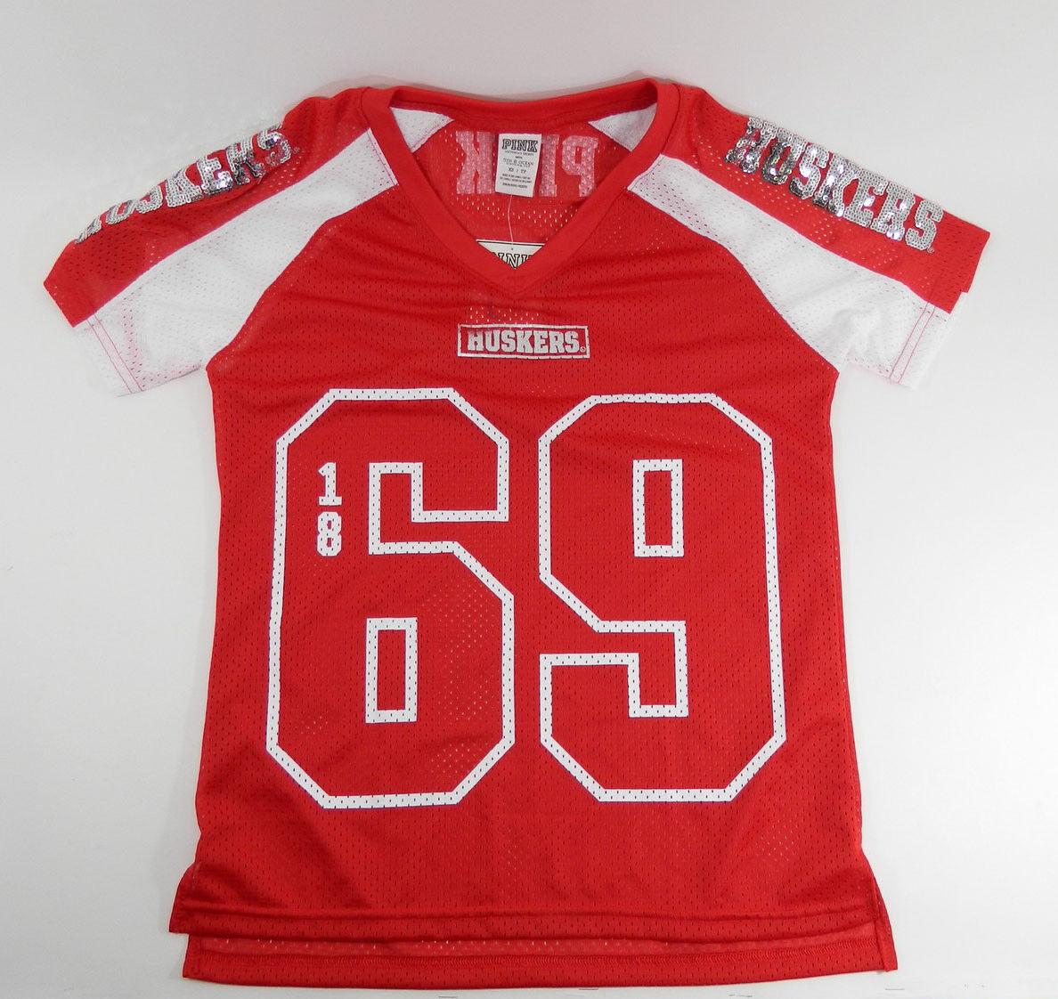 Victoria's Secret PINK Collegiate Collection Nebraska Huskers Jersey Shirt XS