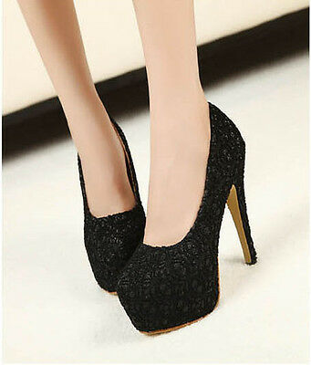 K US Sexy Womens Shoes Pumps High Heels Lace Hollowed Stiletto Peep toe Retro