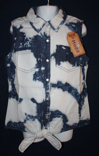 Mudd Bleached Tie-Front Denim Top Girls Sizes XS//S to XL Retail $30 NWT