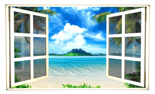 "24"" Window Scape Instant View Tropical #3 Wall Decal Sticker Graphic Art Mural"