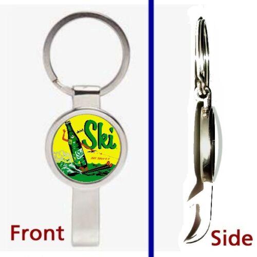 retro Ski Cola Soda Pop Pennant or Keychain silver tone secret bottle opener