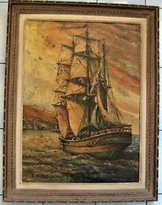 """*1582* C. SOCCORSI  huile sur panneau """"marine"""""""