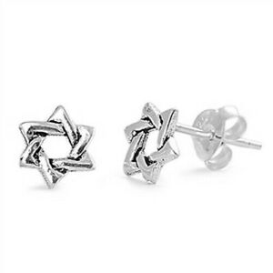 Star-of-David-Stud-Earrings-Sterling-Silver-925-Best-Jewelry-Product-Height-7-mm