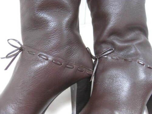 Uk al Carvela marrone Victorian 5 Retro in Stivali alti donna pelle Steampunk taglia ginocchio HqR5wzwS1x