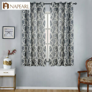 Details about NAPEARL 1 Panel Endless Short Curtains Kitchen Decor Striped  Drapes with Eyelets