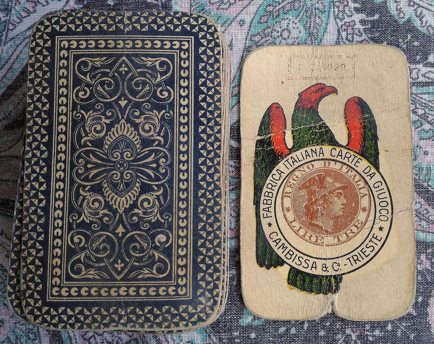 SICILIANE Regno d'Italia 1929 CAMBISSA Mazzo di Carte da Gioco Old Playing Cards