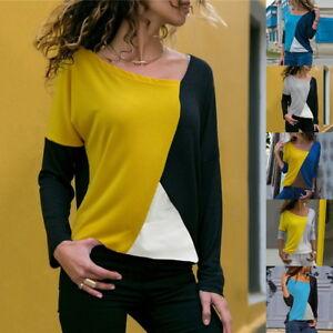 Womens-Elegant-Blouses-Casual-Patchwork-Splice-Block-Long-Sleeve-Shirts-Tops-NG2