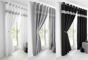 Image Is Loading NEW DIAMANTE FAUX SILK LINED CURTAINS BLACK SILVER