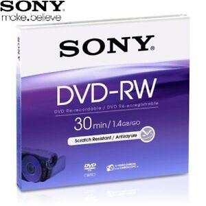 SONY-DVD-RW-1-4GB-8cm-30min-Rewritable-Camcorder-Mini-DVD-Disc-Jewel-Case-Pack-5