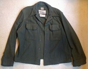 Vintage-WWII-US-Army-Olive-Green-Wool-Field-Shirt-Large-e