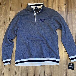 J-America-WSOP-embroidered-Peppered-Fleece-1-4-zip-Men-039-s-Large-Navy