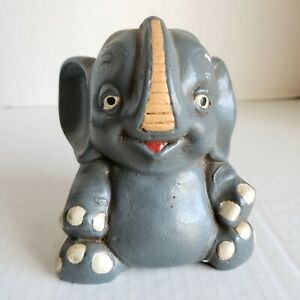 Antique-Elephant-Figure-Vintage-Hand-Painted-Figurine
