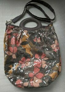 Accessorize-Bag-Bucket-Floral-Sequin-Large-Tote-Shoulder-Grab-Handles-Grey-Peach
