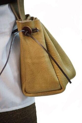 Medieval-LARP-SCA-Reenactment-Leather MEDIEVAL GUSSETED BELT BAG One Size