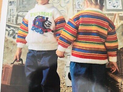 "1523 Boys Girls 20-28/"" 51-71cm DK Thomas Sweater Jumper Vintage Knitting Pattern"