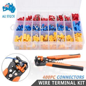 Electrical-Wire-Terminal-Kit-Cutter-Stripper-Plier-Crimper-400Pc-Connectors
