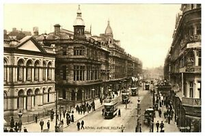 Vintage-postcard-Royal-Avenue-Belfast-N-Ireland-tram-cars-W-E-Walton