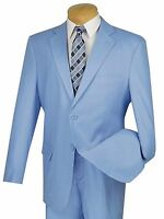 Men's Powder Blue Linen 2 Button Classic Fit Suit Tropical Suit