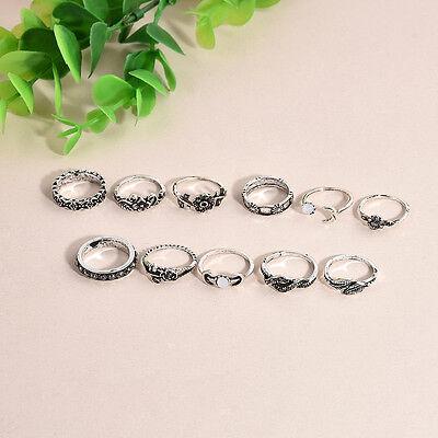 11Pcs Fashion Women Above Knuckle Finger Ring Boho Arrow Moon Midi Rings Set