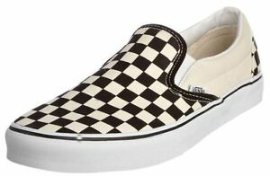 Men-039-s-Vans-Classic-Slip-on-Black-White-Checker-Fashion-Sneakers-VN-0EYEBWW-NEW