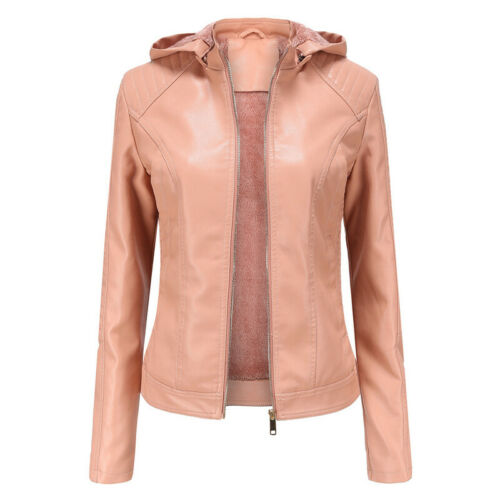 Women Leather Parka Fur Ladies Winter Hooded Warm Jacket Trench Faux Coats Tops