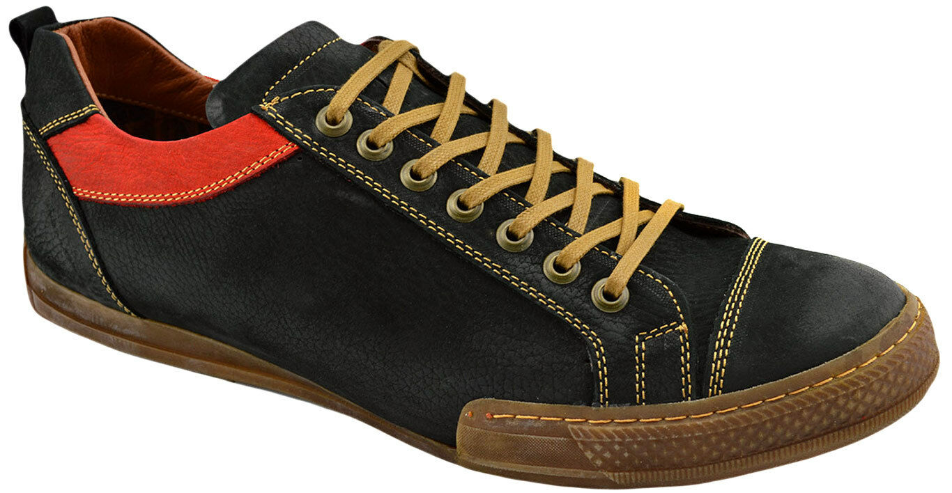 $195 REACTOR Black Red Brown Leather Driving Casual Sneakers Men Shoes