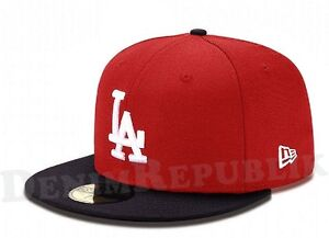 New Era 5950 LOS ANGELES DODGERS LA MLB Baseball Cap New Era Fitted Hat Red Navy