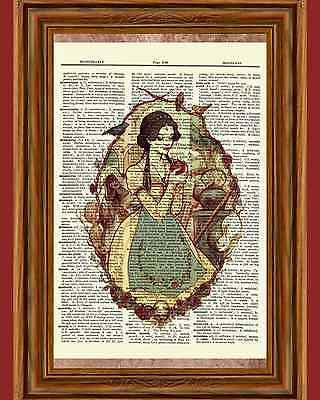 Alice in Wonderland Dictionary Art Print Book Page Fairy Tale Picture Poster