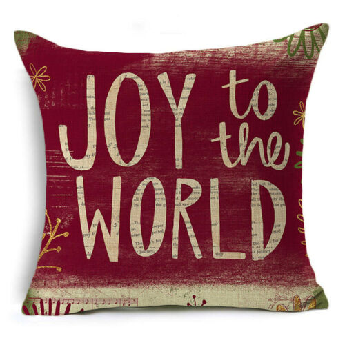 Xmas Christmas Cotton Linen Throw Pillow Case Sofa Cushion Cover Home Decor Gift