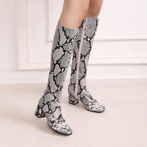 Vintage Knee High Boots Womens Snake Pattern Round Toe Zip Punk Shoes Plus Size