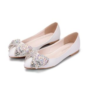 Women-White-Wedding-Shoes-Rhinestone-Flat-Heel-Pointed-Toe-Butterfly-knot-Shoes