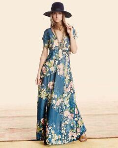 Johnny Was Biya 375 100 Silk Timmie Maxi Dress Xl Flare Flowy W