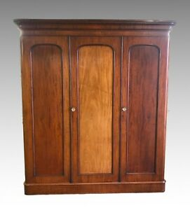 Antique-Victorian-triple-mahogany-combination-wardrobe-compactum-2209L