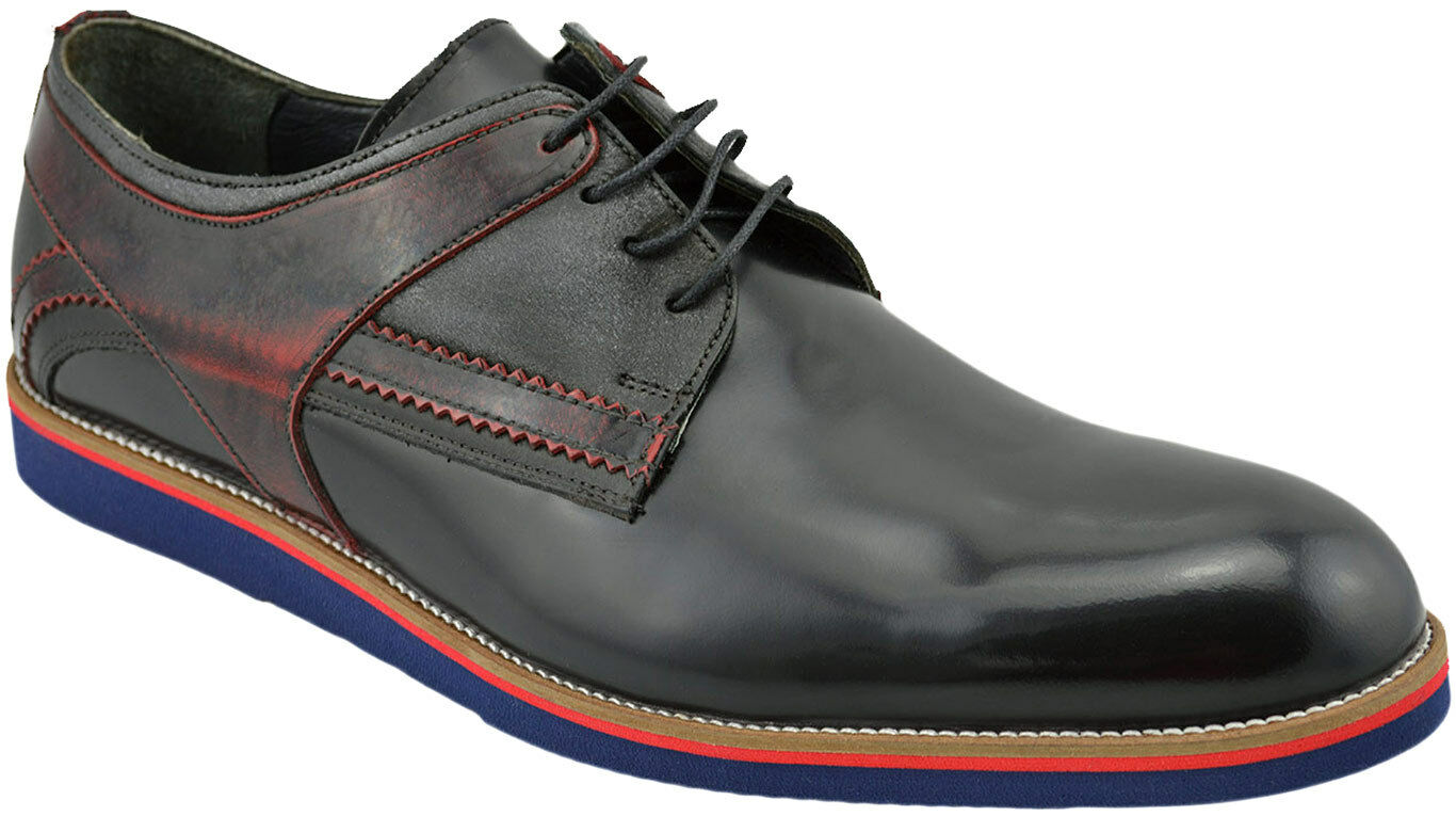 230 NUKTE Black Burgandy Leather DERBY Dress Oxfords Mens shoes NEW COLLECTION