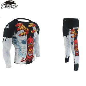 Mens Long Sleeve MMA  Spats Shorts Jiu-Jitsu Jiu Jitsu Rash Guard BJJ Gracie