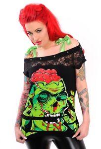 Zombie 3152 Nieten Punk Fetzen Shred Risse Top Nez Shirt Gothic Netz Banned 072 gdqBPwvw
