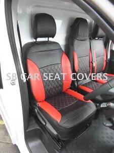 VAUXHALL VIVARO VAN SEAT COVERS 2010 MADE TO MEASURE RED BLACK LEATHERETTE
