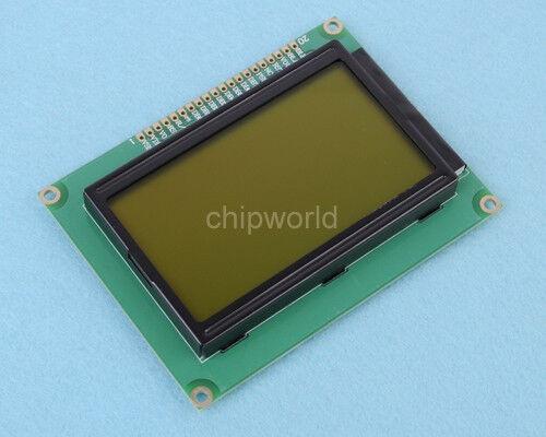 LCD12864 Dot Matrix Graphic LCD Display Module LCM 5V 128X64 Yellow Green Color
