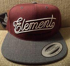 ELEMENT SNAPBACK CAP HAT BURGUNDY BAHTCLEG *NEW*